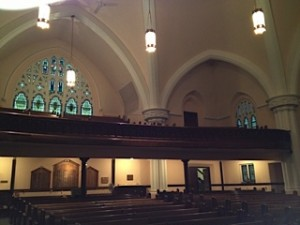 the interior of First Presbyterian Church of Johnstown